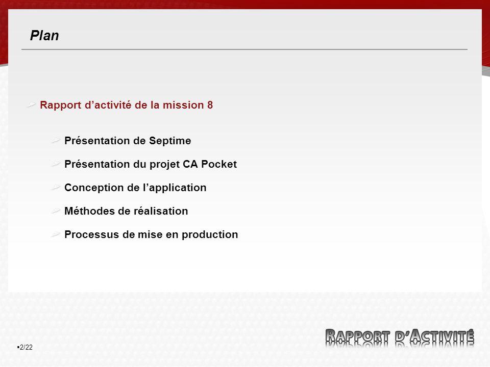 2/22 Plan Rapport dactivité de la mission 8 Présentation de Septime Présentation du projet CA Pocket Conception de lapplication Méthodes de réalisation Processus de mise en production