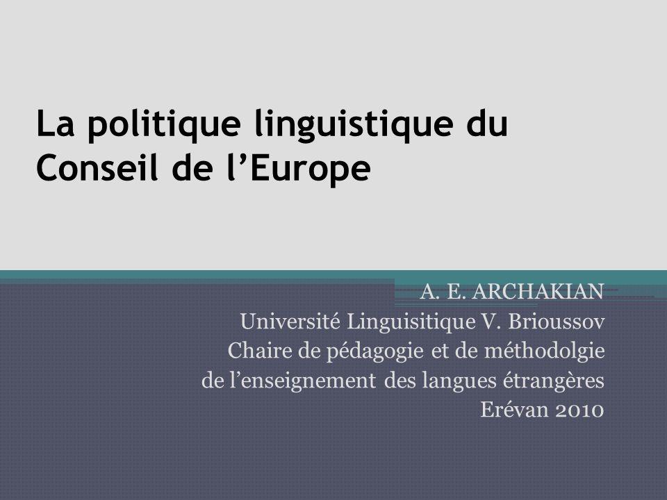 La politique linguistique du Conseil de lEurope A.