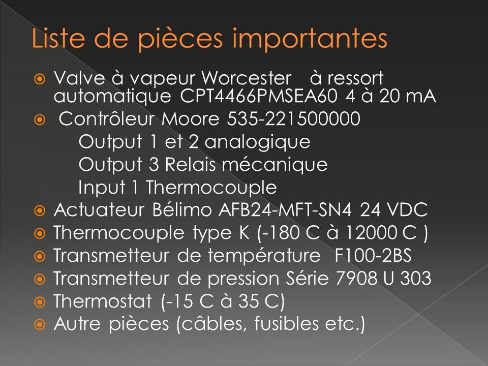 Valve à vapeur Worcester à ressort automatique CPT4466PMSEA60 4 à 20 mA Contrôleur Moore 535-221500000 Output 1 et 2 analogique Output 3 Relais mécani
