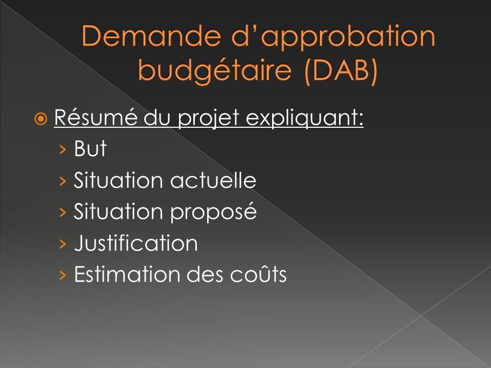 Résumé du projet expliquant: But Situation actuelle Situation proposé Justification Estimation des coûts
