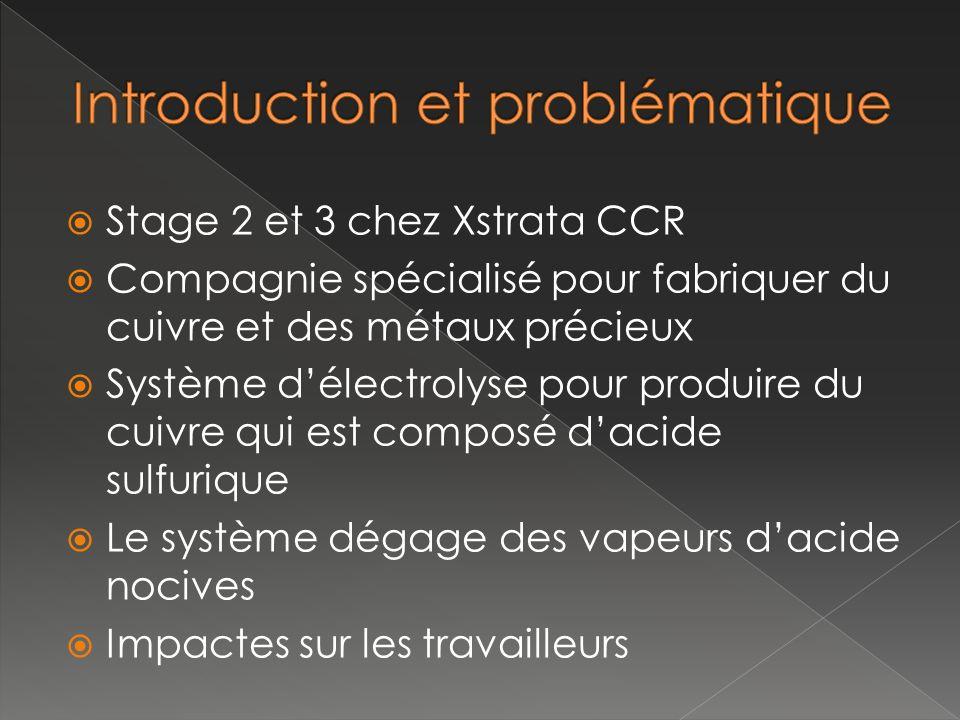 Stage 2 et 3 chez Xstrata CCR Compagnie spécialisé pour fabriquer du cuivre et des métaux précieux Système délectrolyse pour produire du cuivre qui es