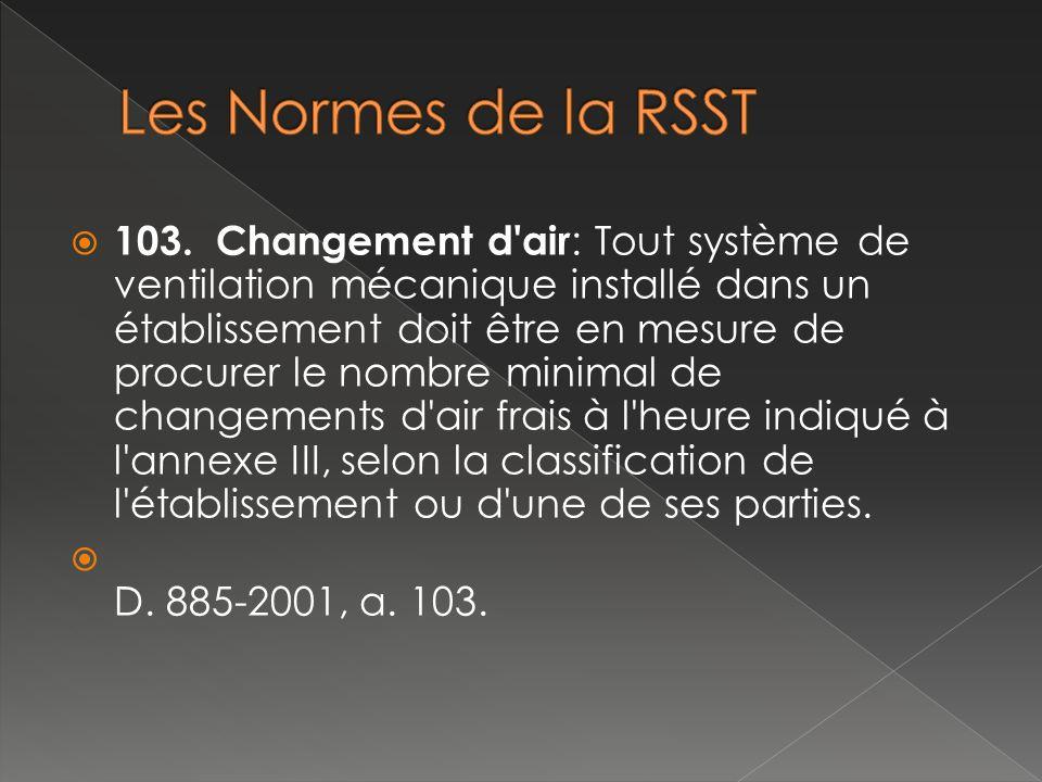 103. Changement d'air : Tout système de ventilation mécanique installé dans un établissement doit être en mesure de procurer le nombre minimal de chan