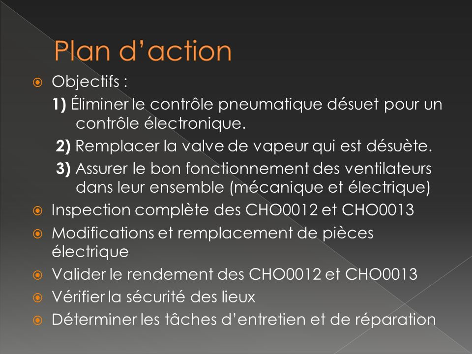 Objectifs : 1) Éliminer le contrôle pneumatique désuet pour un contrôle électronique. 2) Remplacer la valve de vapeur qui est désuète. 3) Assurer le b