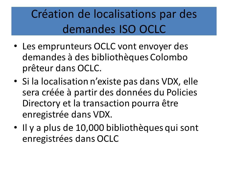 Création de localisations par des demandes ISO OCLC Les emprunteurs OCLC vont envoyer des demandes à des bibliothèques Colombo prêteur dans OCLC.