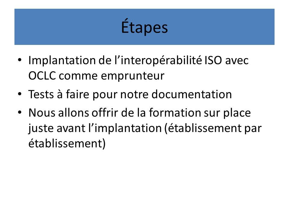 Étapes Implantation de linteropérabilité ISO avec OCLC comme emprunteur Tests à faire pour notre documentation Nous allons offrir de la formation sur place juste avant limplantation (établissement par établissement)