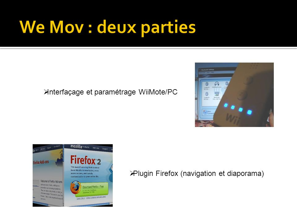 Plugin Firefox (navigation et diaporama) Interfaçage et paramétrage WiiMote/PC