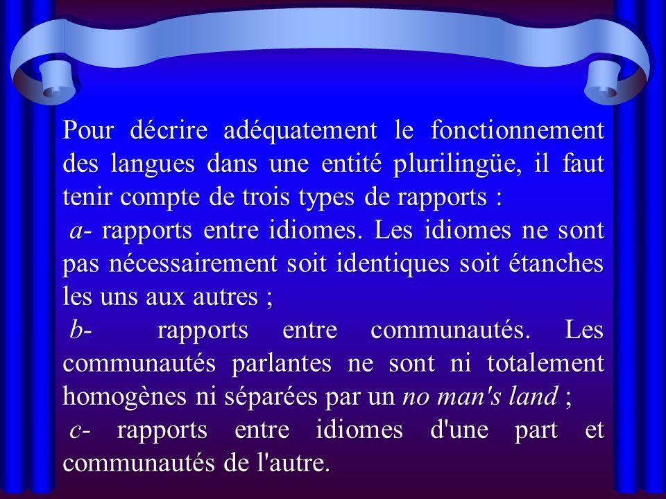 Pour décrire adéquatement le fonctionnement des langues dans une entité plurilingüe, il faut tenir compte de trois types de rapports : a- rapports ent