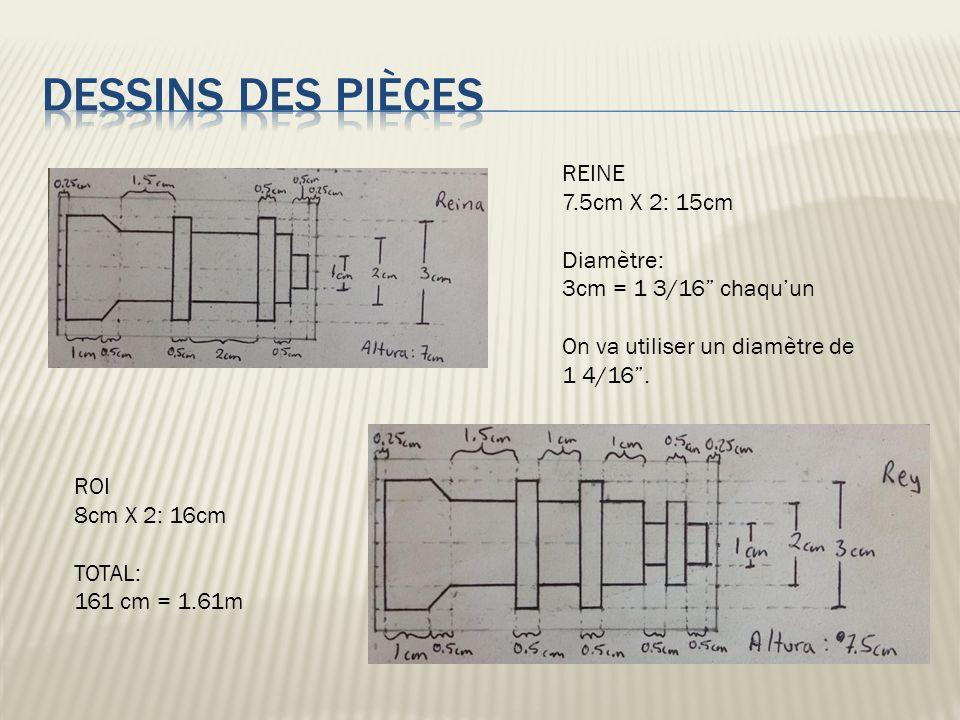 REINE 7.5cm X 2: 15cm Diamètre: 3cm = 1 3/16 chaquun On va utiliser un diamètre de 1 4/16. ROI 8cm X 2: 16cm TOTAL: 161 cm = 1.61m