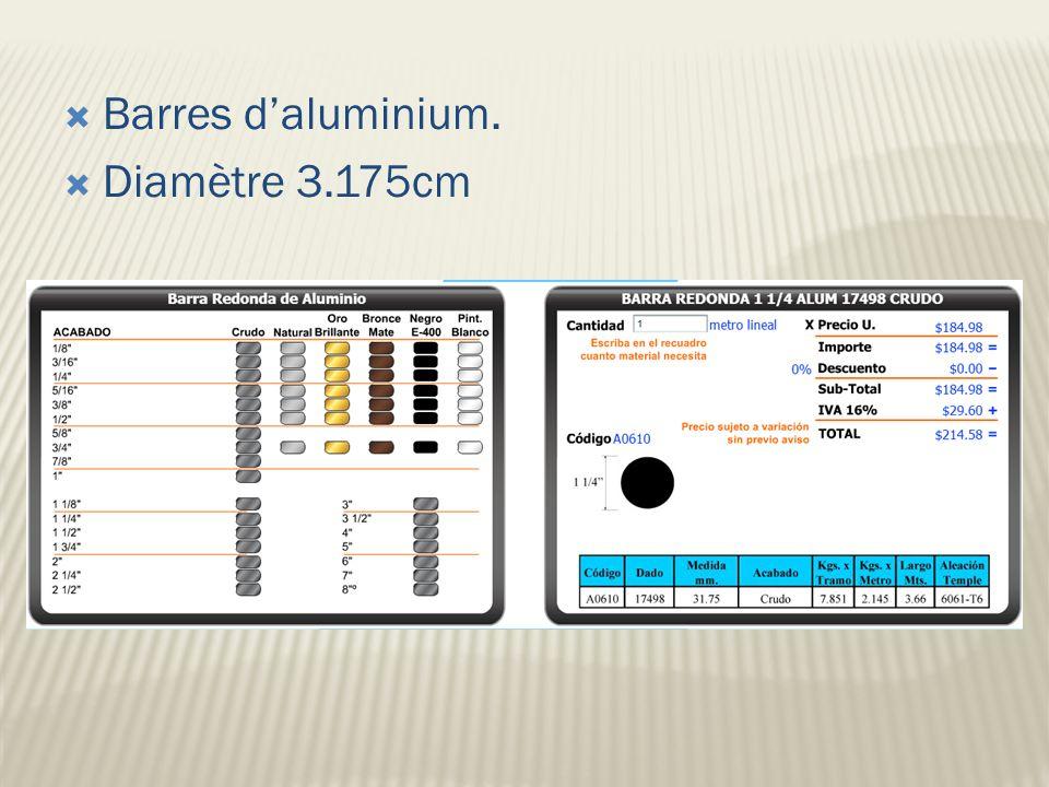 Barres daluminium. Diamètre 3.175cm