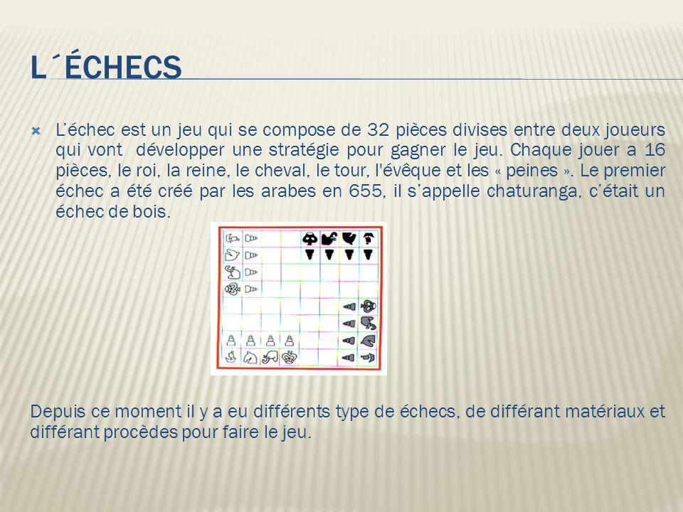 L´ÉCHECS Léchec est un jeu qui se compose de 32 pièces divises entre deux joueurs qui vont développer une stratégie pour gagner le jeu. Chaque jouer a