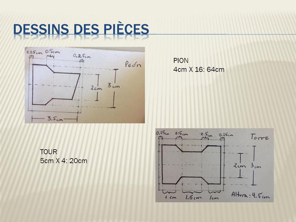 PION 4cm X 16: 64cm TOUR 5cm X 4: 20cm