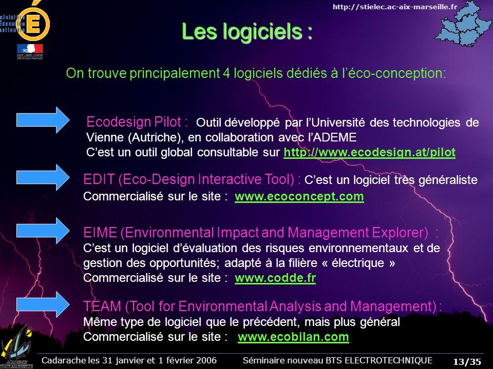 13/35 Cadarache les 31 janvier et 1 février 2006 Séminaire nouveau BTS ELECTROTECHNIQUE http://stielec.ac-aix-marseille.fr Les logiciels : On trouve principalement 4 logiciels dédiés à léco-conception: Ecodesign Pilot : Outil développé par lUniversité des technologies de Vienne (Autriche), en collaboration avec lADEME Cest un outil global consultable sur http://www.ecodesign.at/pilot EDIT (Eco-Design Interactive Tool) : Cest un logiciel très généraliste Commercialisé sur le site : www.ecoconcept.com EIME (Environmental Impact and Management Explorer) : Cest un logiciel dévaluation des risques environnementaux et de gestion des opportunités; adapté à la filière « électrique » Commercialisé sur le site : www.codde.fr TEAM (Tool for Environmental Analysis and Management) : Même type de logiciel que le précédent, mais plus général Commercialisé sur le site : www.ecobilan.com