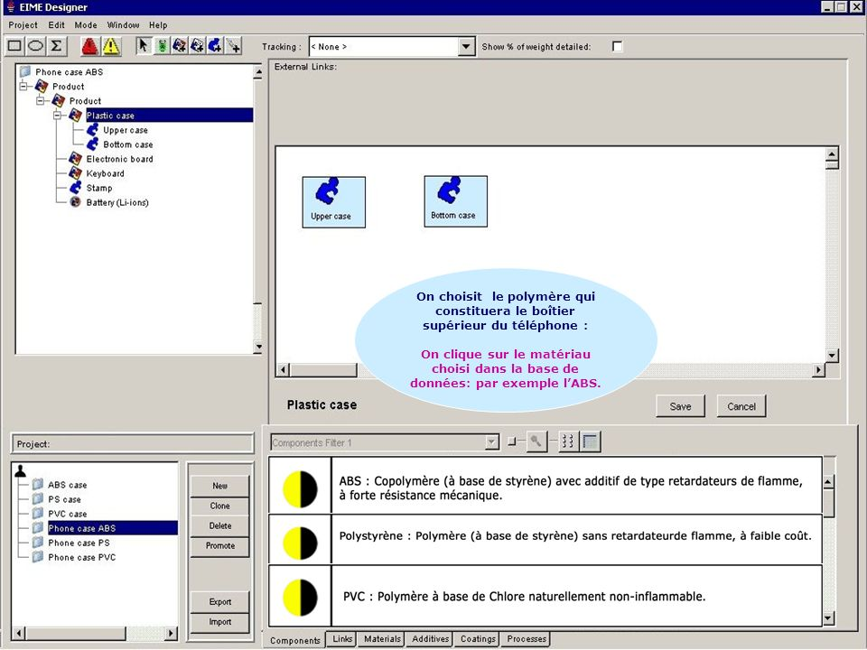 16/35 Cadarache les 31 janvier et 1 février 2006 Séminaire nouveau BTS ELECTROTECHNIQUE http://stielec.ac-aix-marseille.fr On choisit le polymère qui constituera le boîtier supérieur du téléphone : On clique sur le matériau choisi dans la base de données: par exemple lABS.