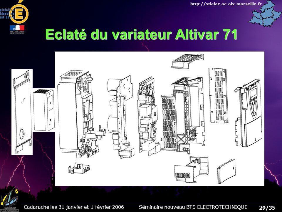 29/35 Cadarache les 31 janvier et 1 février 2006 Séminaire nouveau BTS ELECTROTECHNIQUE http://stielec.ac-aix-marseille.fr Eclaté du variateur Altivar 71