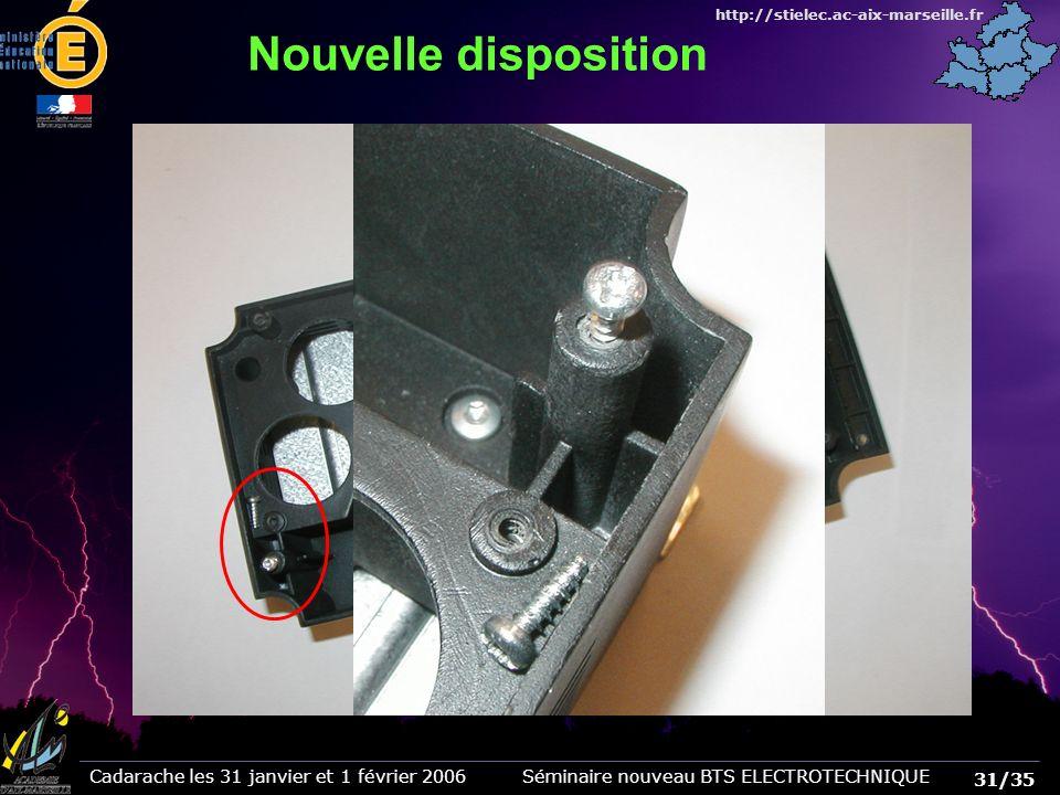 31/35 Cadarache les 31 janvier et 1 février 2006 Séminaire nouveau BTS ELECTROTECHNIQUE http://stielec.ac-aix-marseille.fr Nouvelle disposition