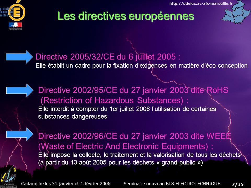 7/35 Cadarache les 31 janvier et 1 février 2006 Séminaire nouveau BTS ELECTROTECHNIQUE http://stielec.ac-aix-marseille.fr Les directives européennes Directive 2005/32/CE du 6 juillet 2005 : Elle établit un cadre pour la fixation dexigences en matière déco-conception Directive 2002/95/CE du 27 janvier 2003 dite RoHS (Restriction of Hazardous Substances) : Elle interdit à compter du 1er juillet 2006 lutilisation de certaines substances dangereuses Directive 2002/96/CE du 27 janvier 2003 dite WEEE (Waste of Electric And Electronic Equipments) : Elle impose la collecte, le traitement et la valorisation de tous les déchets (à partir du 13 août 2005 pour les déchets « grand public »)