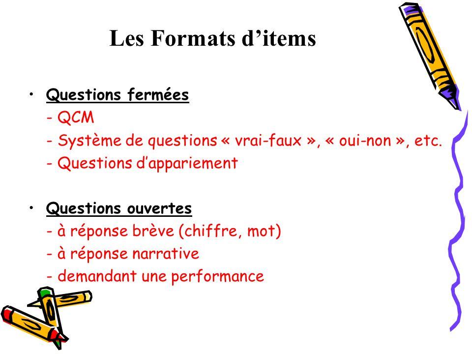 Les Formats ditems Questions fermées - QCM - Système de questions « vrai-faux », « oui-non », etc. - Questions dappariement Questions ouvertes - à rép