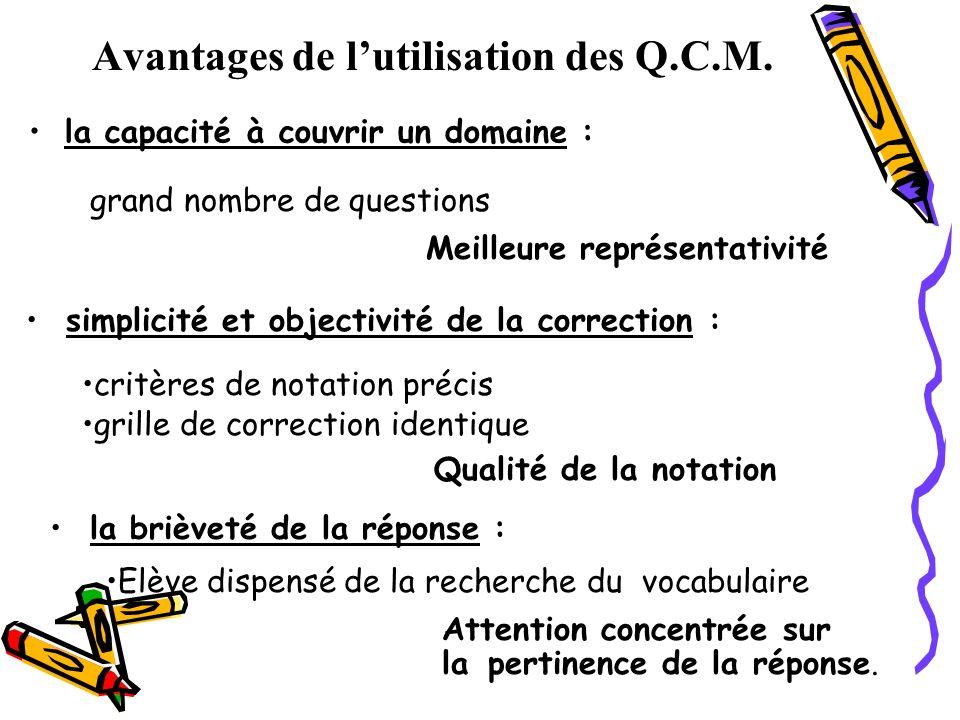 Avantages de lutilisation des Q.C.M. la capacité à couvrir un domaine : grand nombre de questions Meilleure représentativité simplicité et objectivité