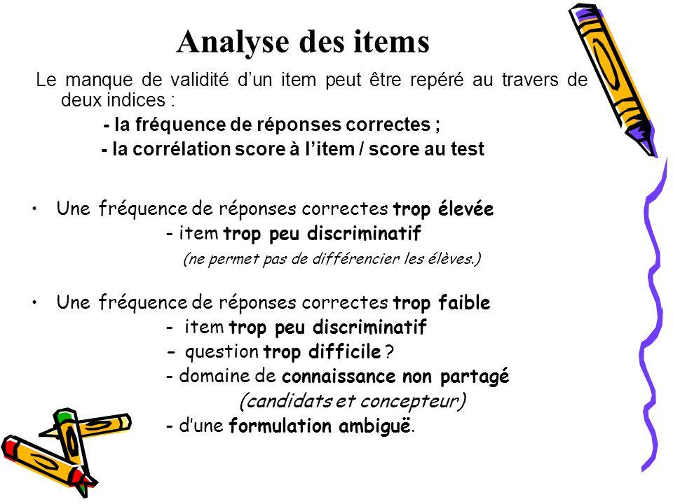 Analyse des items Une fréquence de réponses correctes trop élevée - item trop peu discriminatif (ne permet pas de différencier les élèves.) Une fréque
