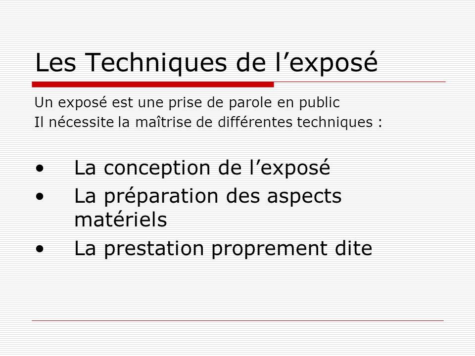 Les Techniques de lexposé Un exposé est une prise de parole en public Il nécessite la maîtrise de différentes techniques : La conception de lexposé La