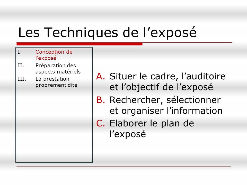 Les Techniques de lexposé I.Conception de lexposé II.Préparation des aspects matériels III.La prestation proprement dite A.Situer le cadre, lauditoire