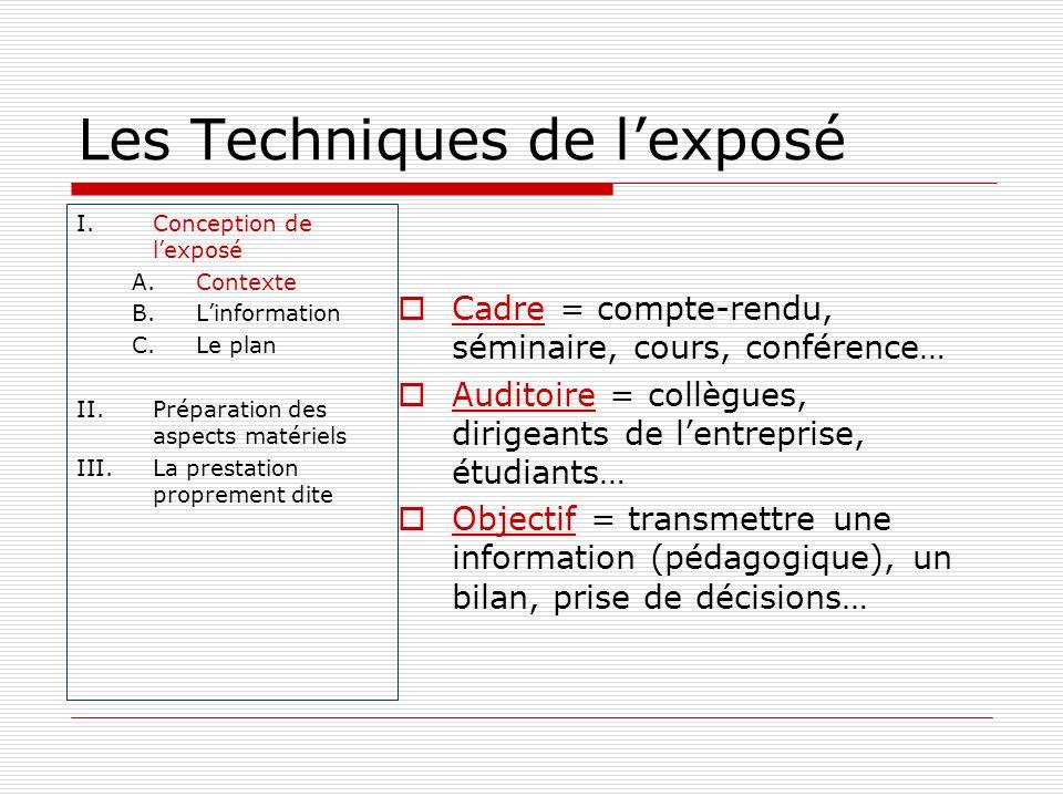 Les Techniques de lexposé I.Conception de lexposé A.Contexte B.Linformation C.Le plan II.Préparation des aspects matériels III.La prestation propremen