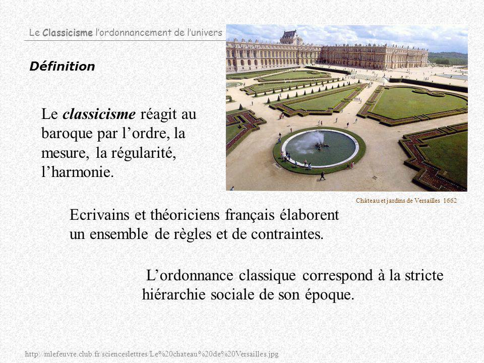 Le Classicisme lordonnancement de lunivers Définition Ecrivains et théoriciens français élaborent un ensemble de règles et de contraintes.