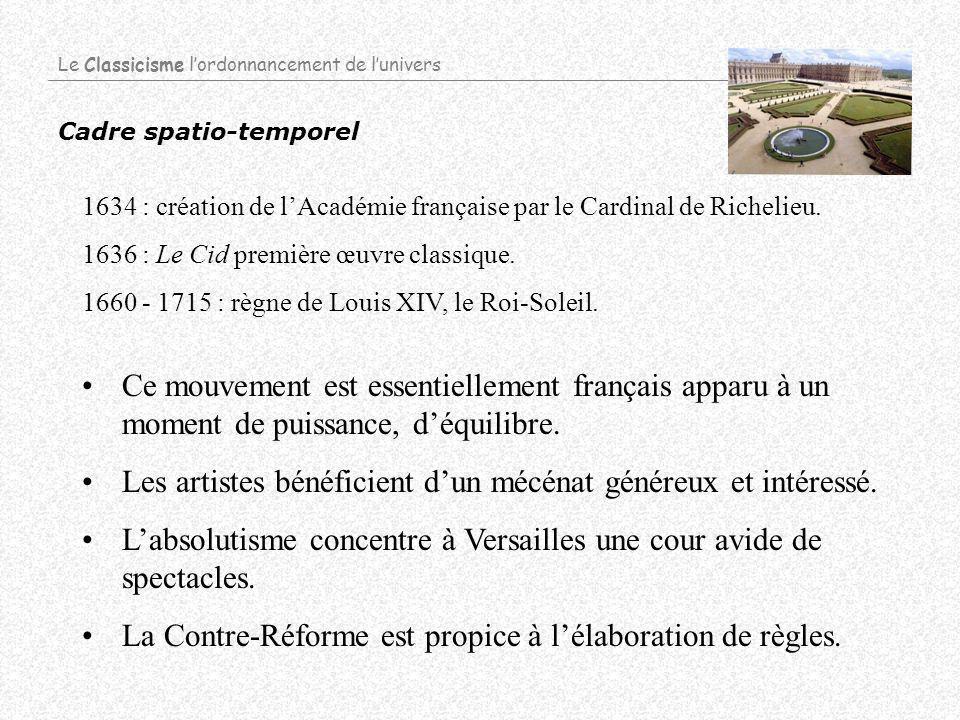 Cadre spatio-temporel 1634 : création de lAcadémie française par le Cardinal de Richelieu.