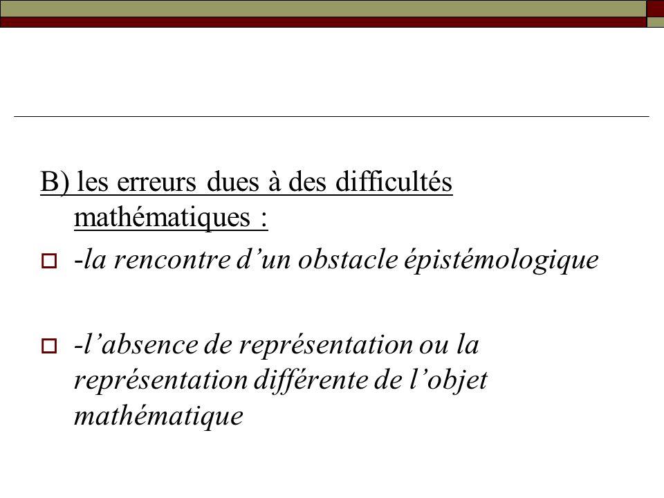 B) les erreurs dues à des difficultés mathématiques : -la rencontre dun obstacle épistémologique -labsence de représentation ou la représentation diff