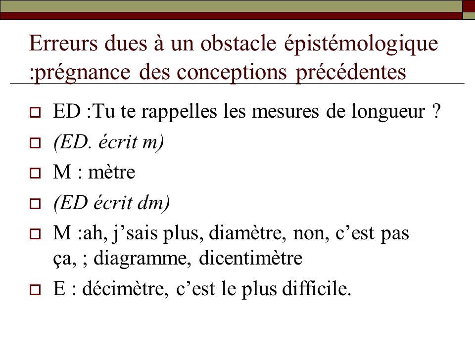 Erreurs dues à un obstacle épistémologique :prégnance des conceptions précédentes ED :Tu te rappelles les mesures de longueur ? (ED. écrit m) M : mètr