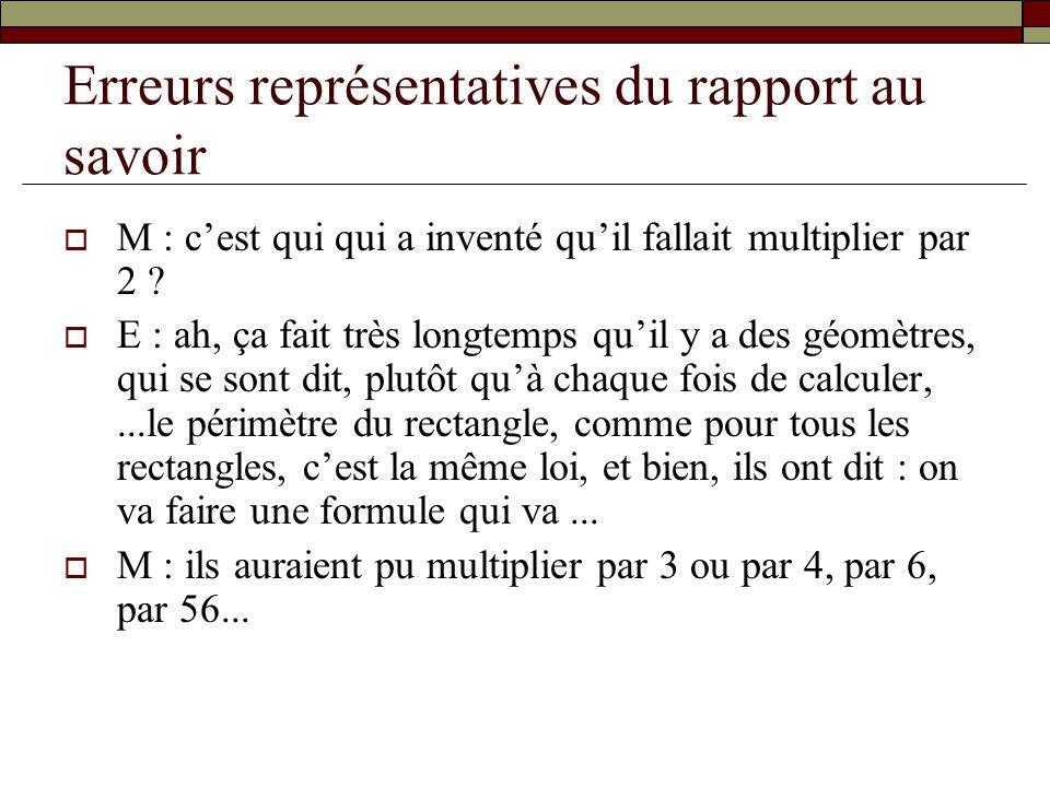 Erreurs représentatives du rapport au savoir M : cest qui qui a inventé quil fallait multiplier par 2 ? E : ah, ça fait très longtemps quil y a des gé