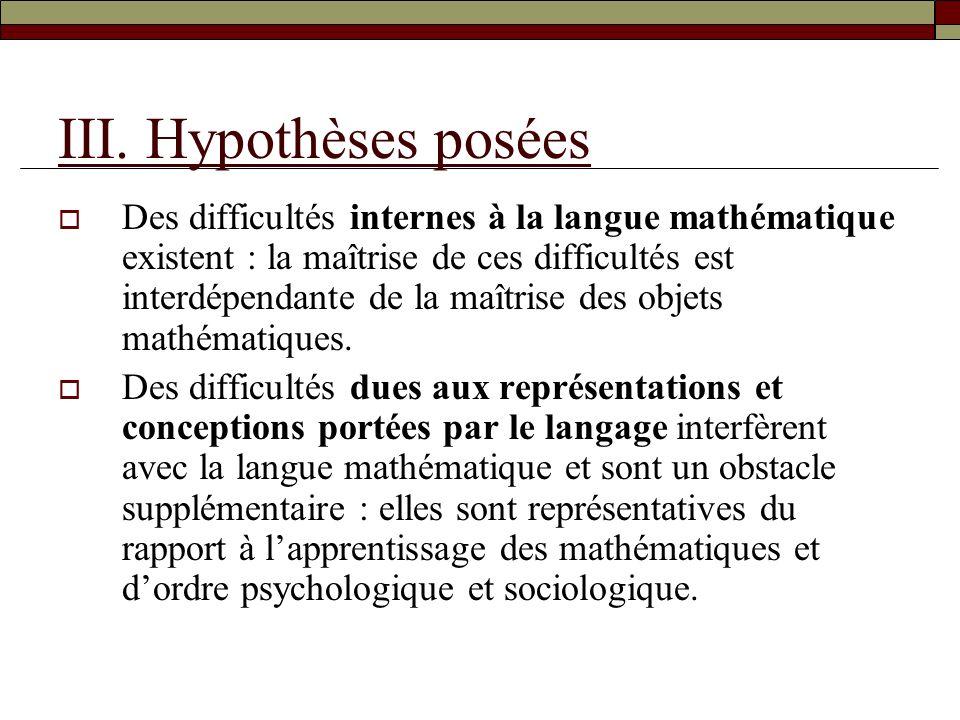 III. Hypothèses posées Des difficultés internes à la langue mathématique existent : la maîtrise de ces difficultés est interdépendante de la maîtrise