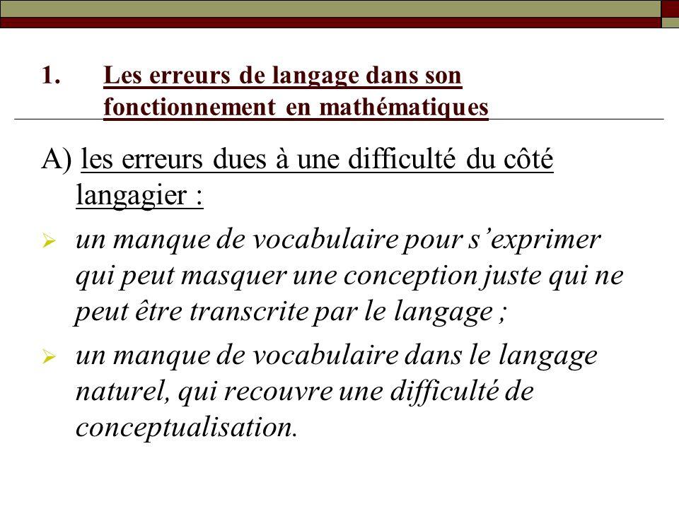 Erreurs dues au manque de vocabulaire recouvrant un manque conceptuel : EL : On a vu les angles complémentaires ; je comprends pas complémentaire E : Dans la vie de tous les jours, on utilise le mot « complément » ; tu le connais .