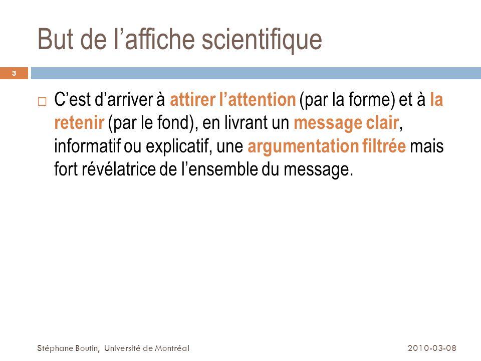 Pour en savoir plus Daelle, Amaury; «Communiquer à laide daffiches»; Université de Lausanne (bon résumé) (http://www.unil.ch/webdav/site/cse/shared/brochures/me mento_presentations_affiches.pdf)http://www.unil.ch/webdav/site/cse/shared/brochures/me mento_presentations_affiches.pdf Excellent tutoriel sur la conception d une affiche - University of Leicester Excellent tutoriel sur la conception d une affiche 34 2010-03-08Stéphane Boutin, Université de Montréal
