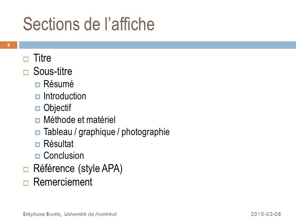 Visualisation 2010-03-08Stéphane Boutin, Université de Montréal 9 Visualiser votre affiche dans un espace de 4x8