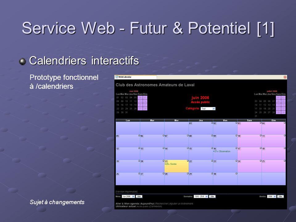Service Web - Futur & Potentiel [1] Calendriers interactifs Prototype fonctionnel à /calendriers Sujet à changements
