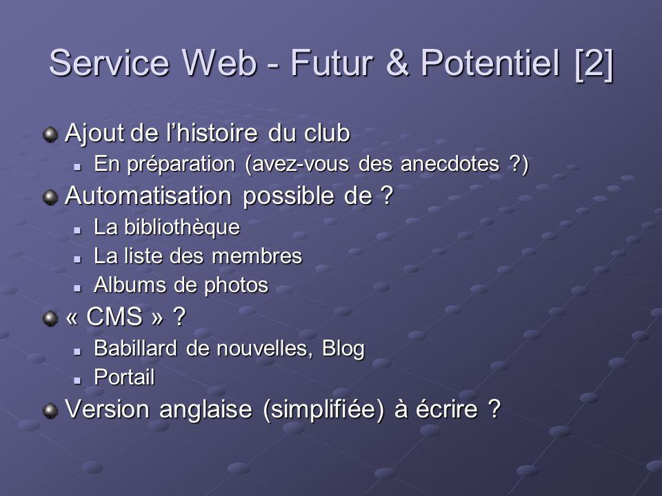 Service Web - Futur & Potentiel [2] Ajout de lhistoire du club En préparation (avez-vous des anecdotes ) En préparation (avez-vous des anecdotes ) Automatisation possible de .