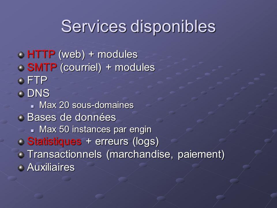 Services disponibles HTTP (web) + modules SMTP (courriel) + modules FTPDNS Max 20 sous-domaines Max 20 sous-domaines Bases de données Max 50 instances par engin Max 50 instances par engin Statistiques + erreurs (logs) Transactionnels (marchandise, paiement) Auxiliaires