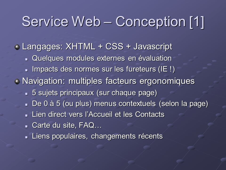 Service Web – Conception [2] Logo: retour direct à laccueil Langue alternative Menu principal Menu contextuel Icône spécifique Lien « contacts » Texte Coordonnées et information Références Légende