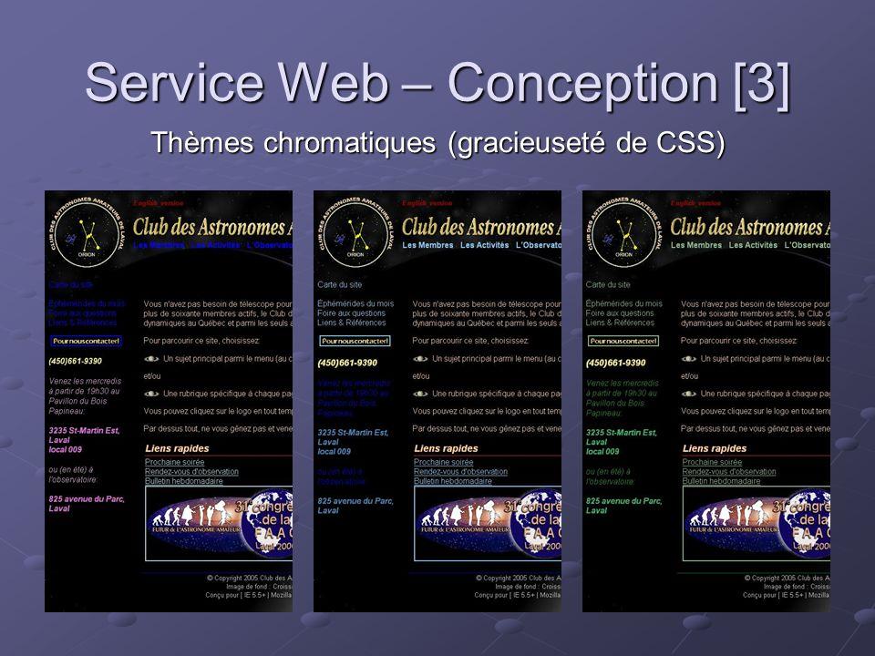 Service Web – Conception [3] Thèmes chromatiques (gracieuseté de CSS)