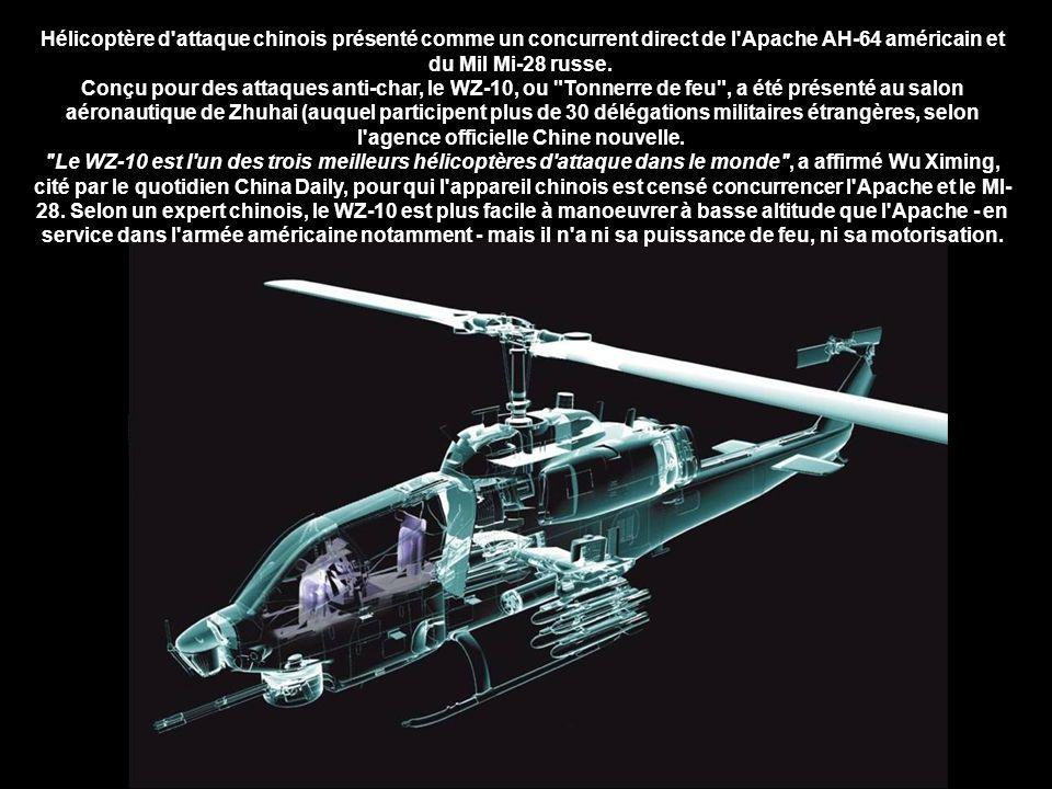 Le WZ-10 (Wuzhuang Zhisheng-10) est un hélicoptère d attaque produit par la République populaire de Chine.