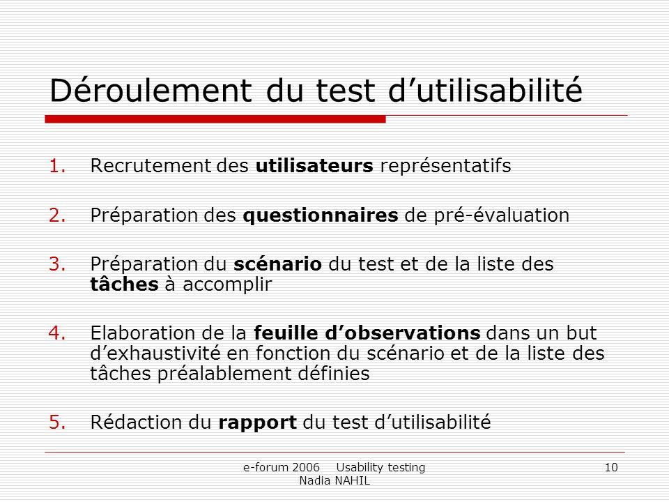 e-forum 2006 Usability testing Nadia NAHIL 10 Déroulement du test dutilisabilité 1.Recrutement des utilisateurs représentatifs 2.Préparation des quest
