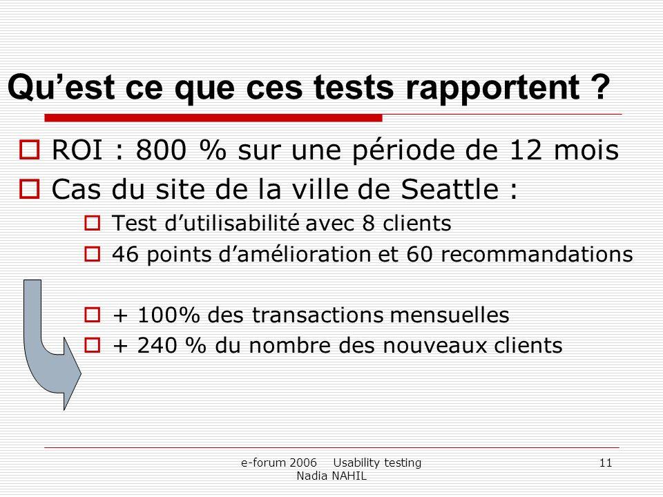 e-forum 2006 Usability testing Nadia NAHIL 11 Quest ce que ces tests rapportent ? ROI : 800 % sur une période de 12 mois Cas du site de la ville de Se
