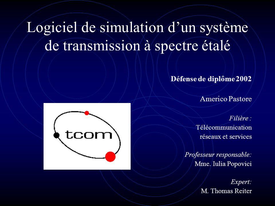 Logiciel de simulation dun système de transmission à spectre étalé Défense de diplôme 2002 Americo Pastore Filière : Télécommunication réseaux et serv