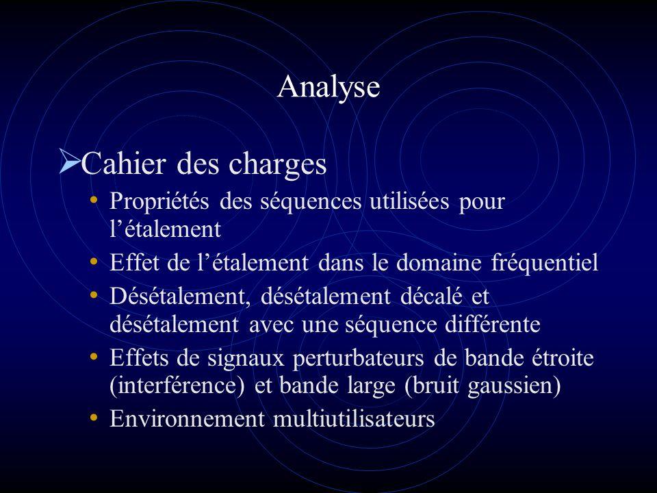 Analyse Cahier des charges Propriétés des séquences utilisées pour létalement Effet de létalement dans le domaine fréquentiel Désétalement, désétaleme