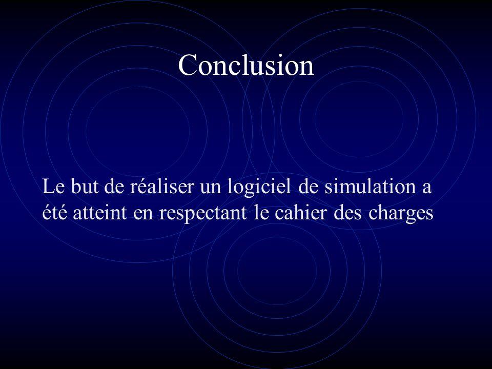 Conclusion Le but de réaliser un logiciel de simulation a été atteint en respectant le cahier des charges