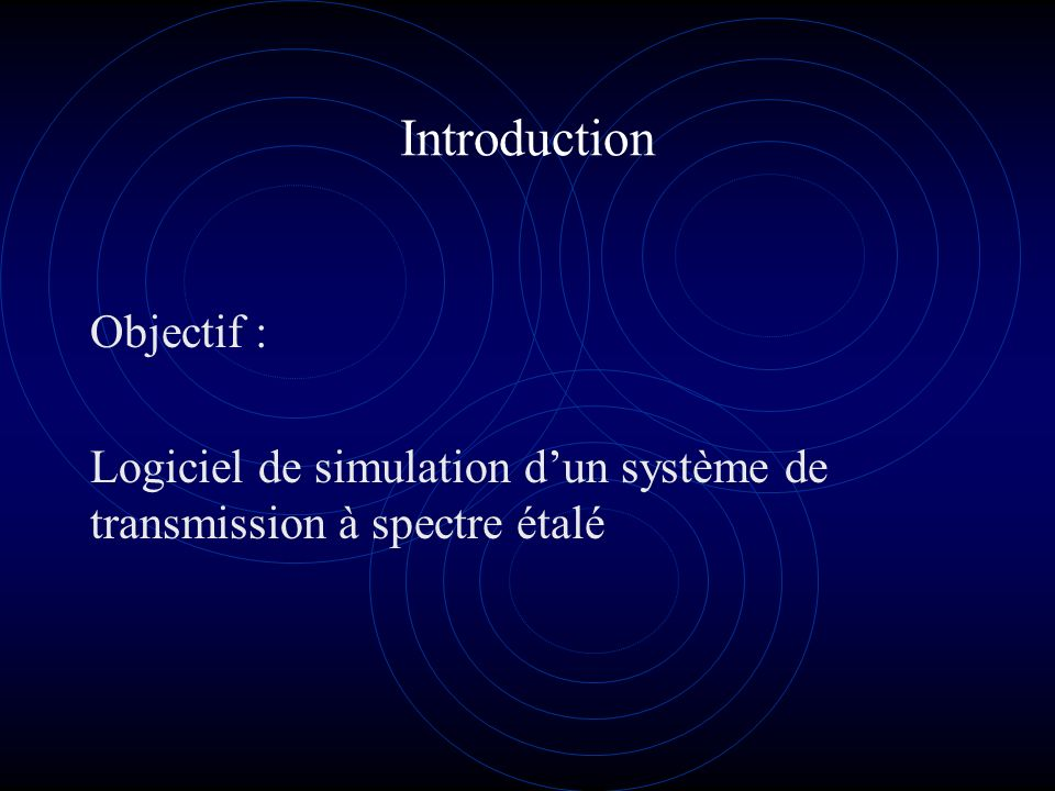 Introduction Objectif : Logiciel de simulation dun système de transmission à spectre étalé