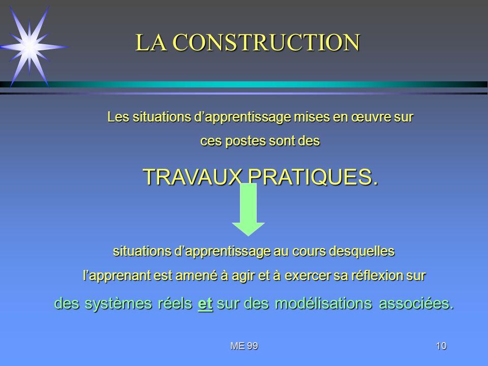 ME 9910 Les situations dapprentissage mises en œuvre sur ces postes sont des TRAVAUX PRATIQUES. situations dapprentissage au cours desquelles lapprena