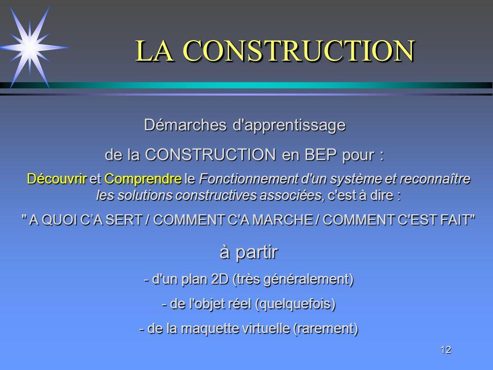 12 LA CONSTRUCTION LA CONSTRUCTION Démarches d'apprentissage de la CONSTRUCTION en BEP pour : Découvrir et Comprendre le Fonctionnement d'un système e
