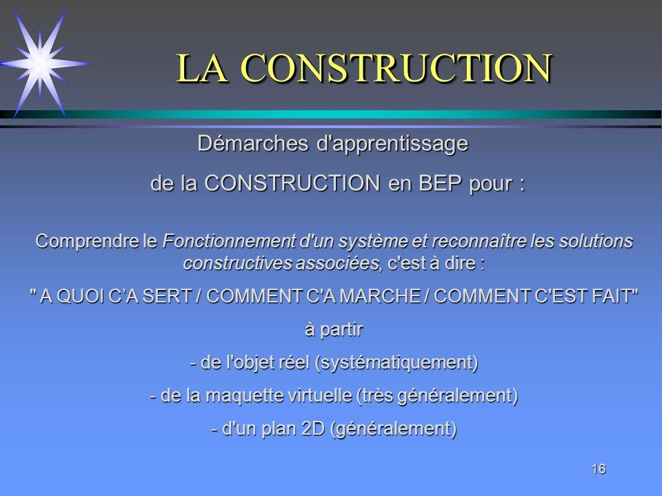 16 LA CONSTRUCTION Comprendre le Fonctionnement d'un système et reconnaître les solutions constructives associées, c'est à dire :